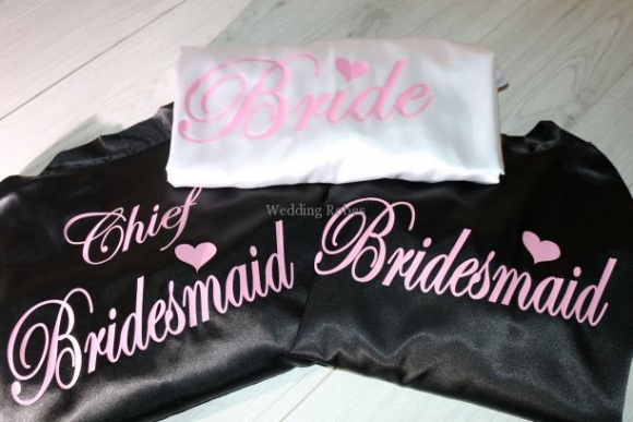Amazing  Bridesmaid Black Luxury Satin Robe