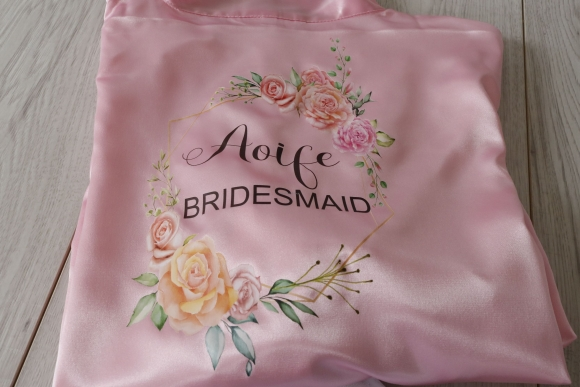 A Satin Floral Frame personalised Wedding Robe