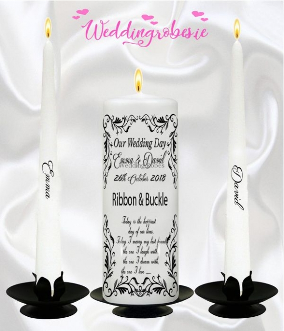 Diamond & Satin  Wedding Unity Candles Sets