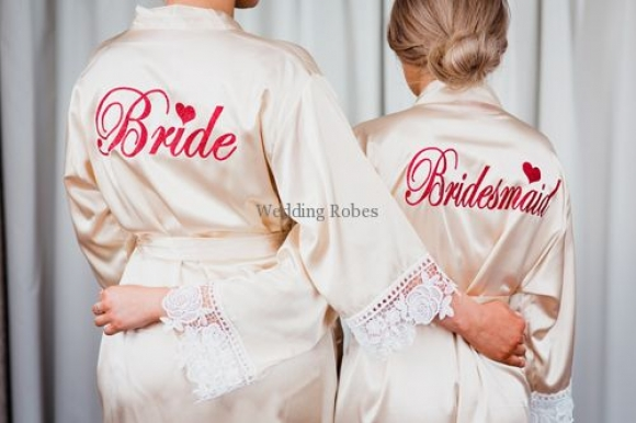 Bride and Bridesmaid Limited Edition Satin with Lace Personalised Robe