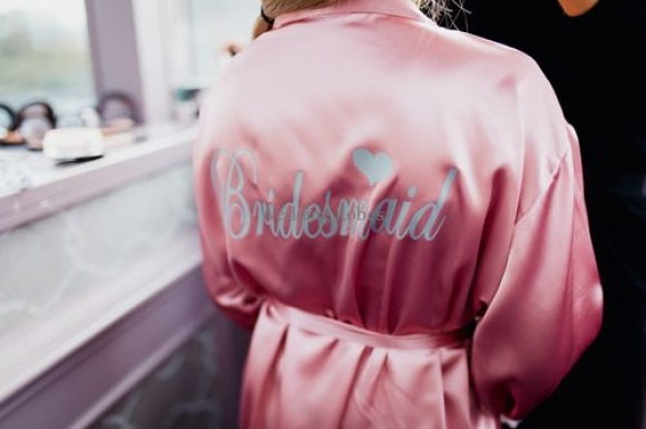 Bridal Party Designer Limited Edition Satin with Lace Personalised Robe
