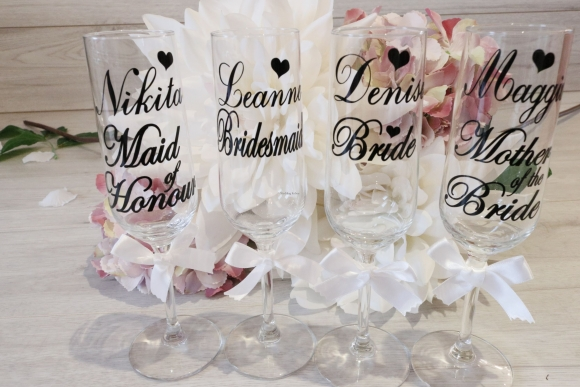 Personalised Bridal Champagne Glass-for Bride & Bridal Party