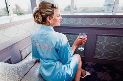 Weddingrobes Sky Blue Satin Robe
