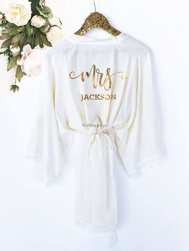 Brides White Satin Personalised Robe/Bridal Party Dressing Gowns ...