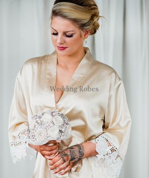 100% authentic vast selection buy good Bridal Party Designer Limited Edition Satin with Lace Personalised Robe