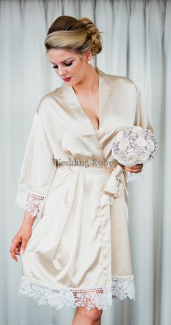 Bride and Bridesmaid Limited Edition Satin with Lace Personalised Robe.  Home   WEDDING   SATIN ROBES ... 364799668