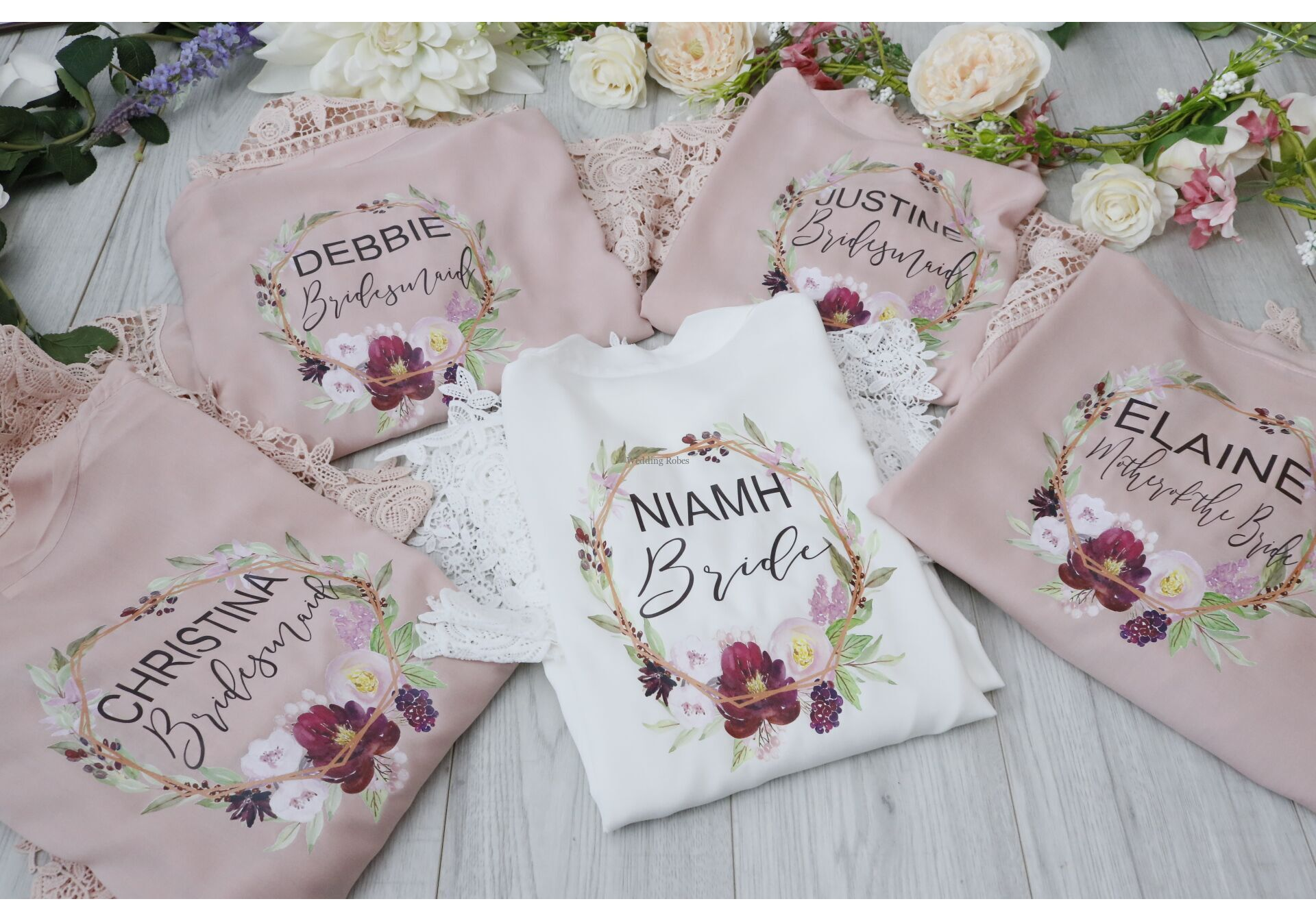 Rose Gold Effect Floral Frame Wedding Robes Personalised Bride To Be Cotton Lace Personalised Robes